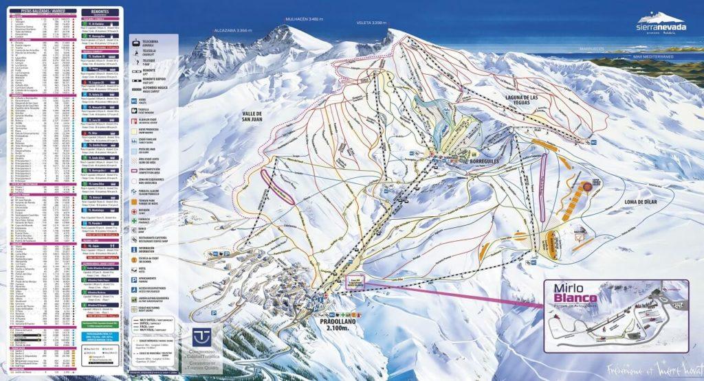 mapa de pistas de sierra nevada